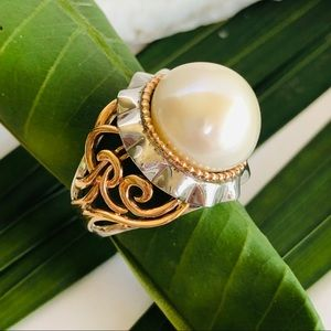 Jewelry - 14kt rose gold and 925ss jellyfish pearl ring.